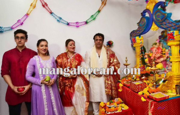 Mumbai Sept. 18 :- Bollywood actor / celebraties celebrated Ganesh Festival in Mumbai. In pic bollywood actor Govinda with his family. ( pic by Ravindra Zende )