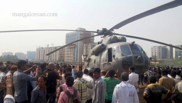 Mumbai Oct. 21 :- A Mi-17 helicopter of the Indian Air Force was on a routine sortie from Santacruz Airport this afternoon. During the sortie the aircraft developed a technical problem and carried out a precautionary landing at Bandra Kurla Complex Area, Mumbai. The aircraft and all four personnel on board are safe. Technical and ground support teams have been positioned on site to assess the aircraft. ( pic by Ravindra Zende )