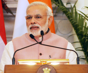 New Delhi: The Prime Minister Narendra Modi giving his statement to the media, at the Joint Press Briefing, in New Delhi on June 5, 2015. (Photo: IANS/PIB)