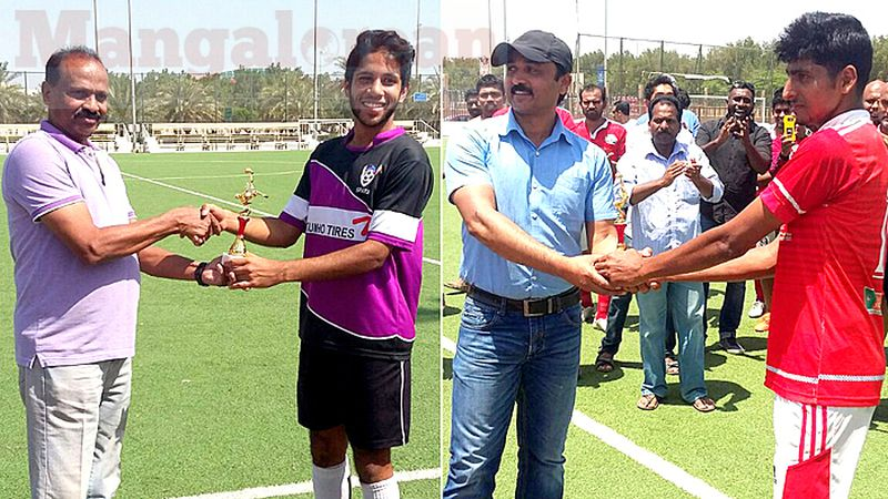 Men of Matches (L to R) - Hussain Ali of Sparx, Ramsheed of Soccer Kerala