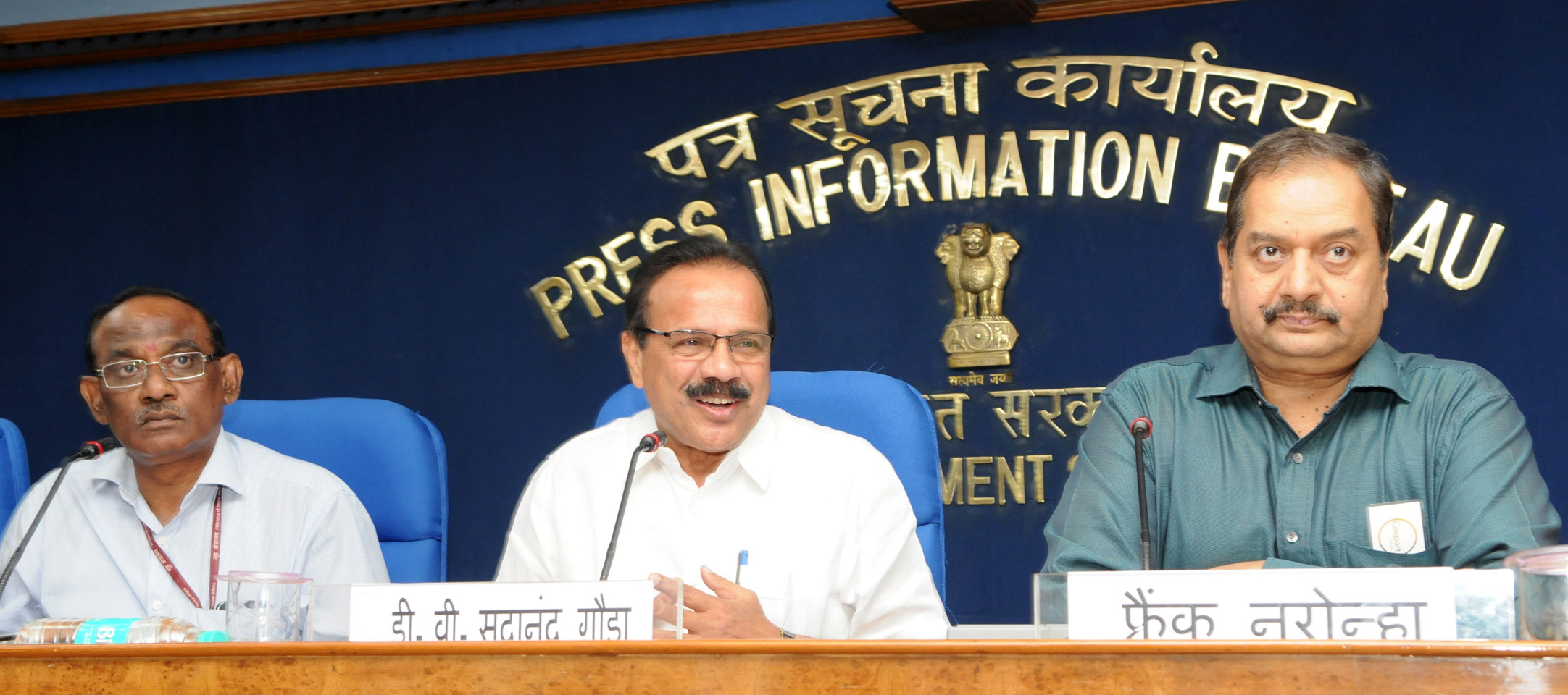 The Union Minister for Law & Justice, Shri D.V. Sadananda Gowda addressing a press conference to mark the completion of two years of the Government, in New Delhi on May 25, 2016. 	The Secretary, Legislative Department of the Ministry of Law and Justice, Dr. G. Narayana Raju and the Director General (M&C), Press Information Bureau, Shri A.P. Frank Noronha are also seen.