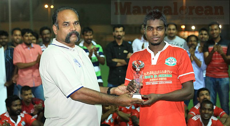 9. Robert Bernard presents Man of the Match to Kuttapu Jineesh