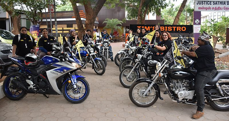 Bikerni - India's first ever all women bikers association rode all the way from Bangalore to Coimbatore in support of 19th JK Tyre FMSCI National Racing Championship