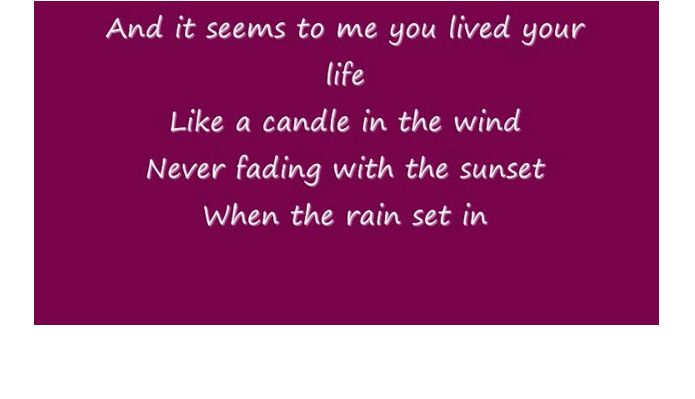 Candle In The Wind A Death Tribute Song Played At A